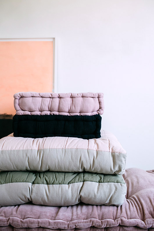 tufted floor cushions. / sfgirlbybay