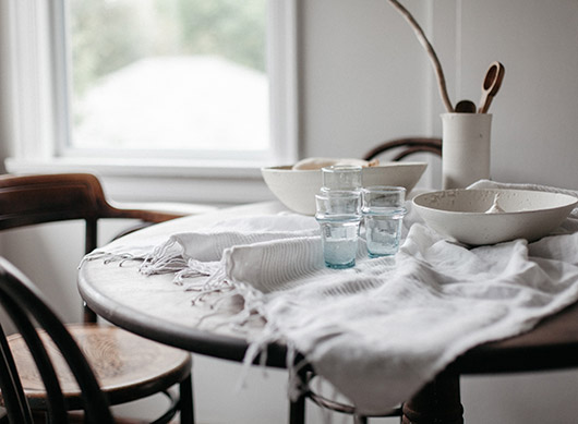 kitchen table style with linen and glassware and ceramics. / sfgirlbybay