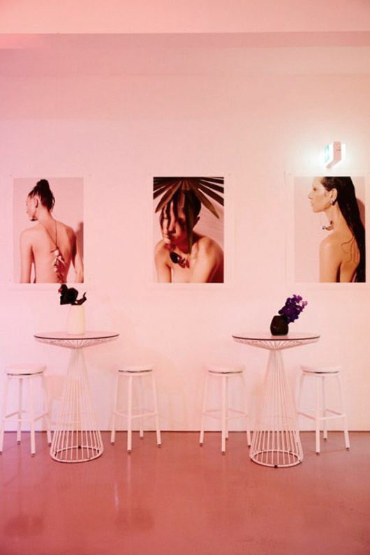 pink walls and white cafe tables. / sfgirlbybay