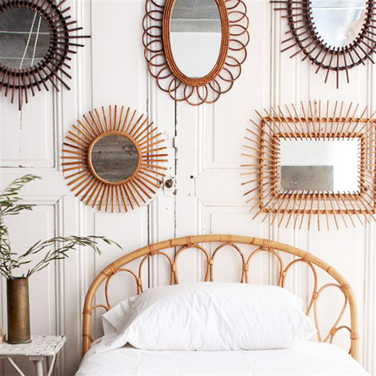 rattan mirrors and bed frame. / sfgirlbybay