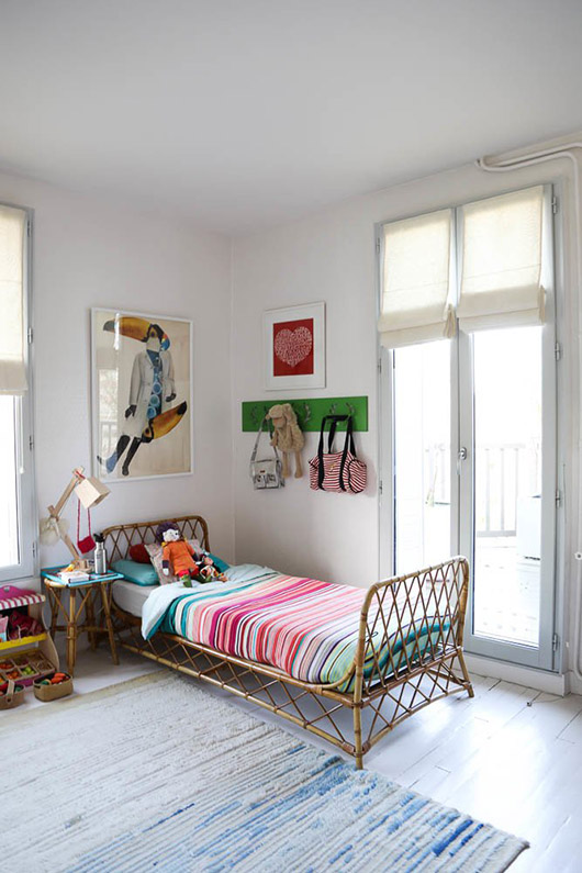 rattan kids bed and painted white floors via the socialite family. / sfgirlbybay