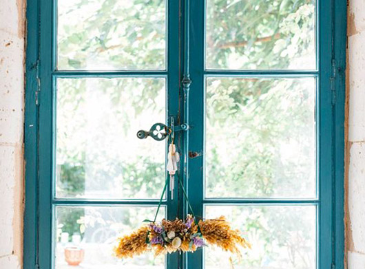 blue window trim in 17th century French Manor via mignonne decor. / sfgirlbybay