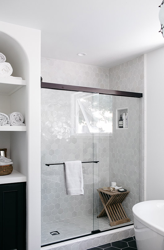 shower with Clé tiles' zellige white weathered hex. / sfgirlbybay