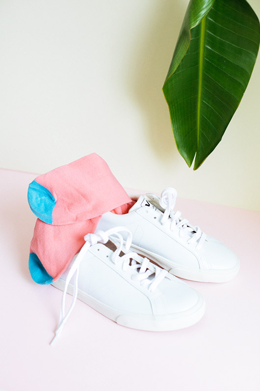 white sneakers styled with pink and blue socks. / sfgirlbybay