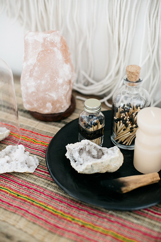 zen shrine with salt lamp and palo santo. / sfgirlbybay