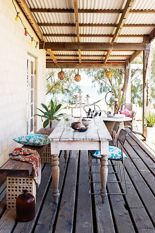 beach house with covered deck. / sfgirlbybay