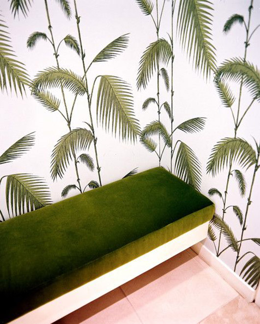 green and white palm print wallpaper. / sfgirlbybay