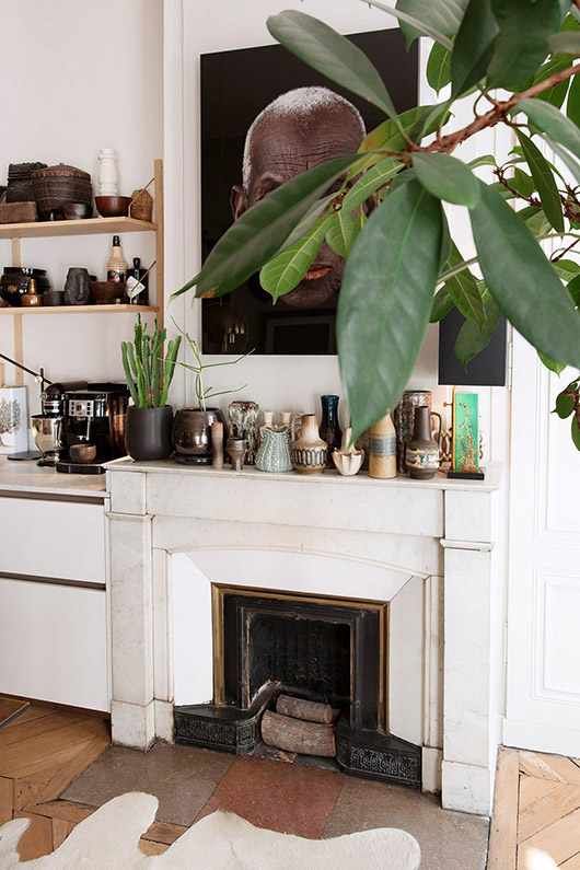 ceramic collection on white mantle. / sfgirlbybay