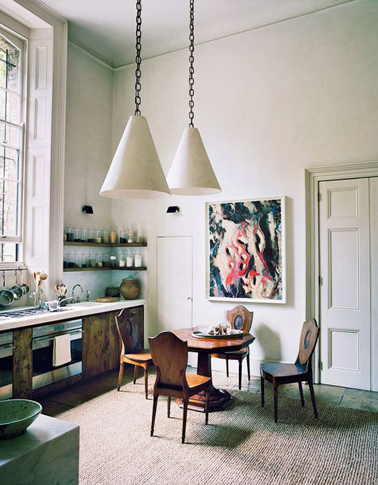 pendant lamps on chain in rustic kitchen. / sfgirlbybay