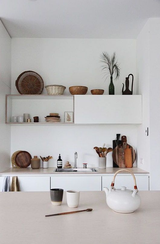 white walls in small kitchen. / sfgirlbybay