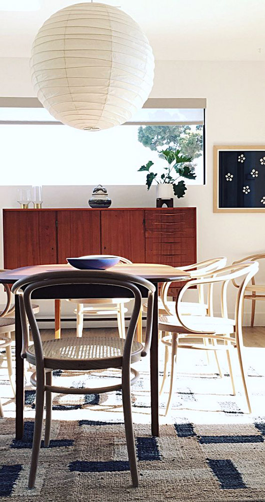mismatched bentwood dining chairs. / sfgirlbybay