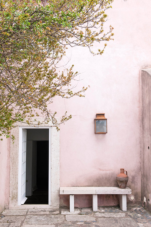 pale pink building exterior walls. / sfgirlbybay