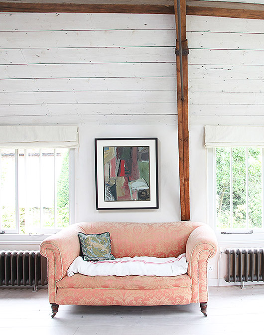 pink pattered upholstered chair. / sfgirlbybay