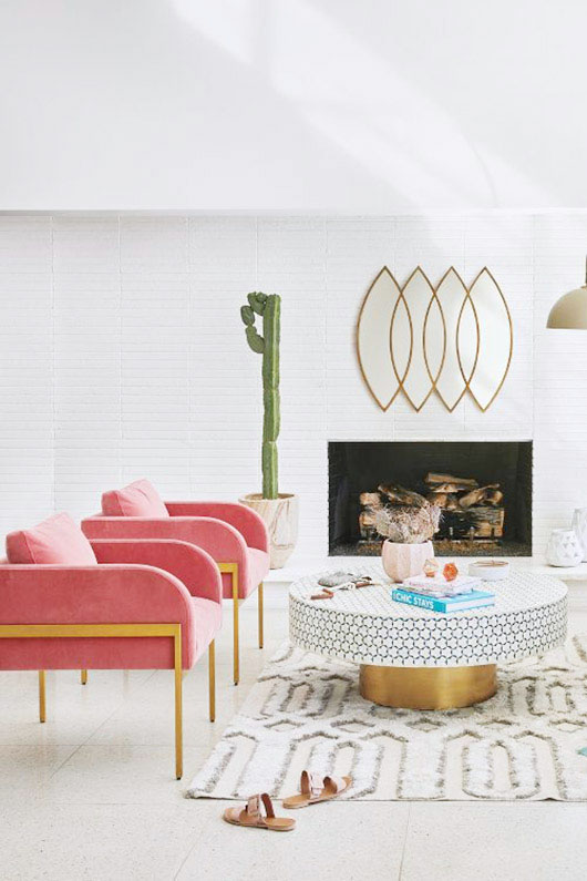 hot pink and gold matching chairs. / sfgirlbybay