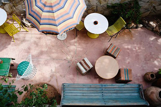aerial view of pink patio. / sfgirlbybay