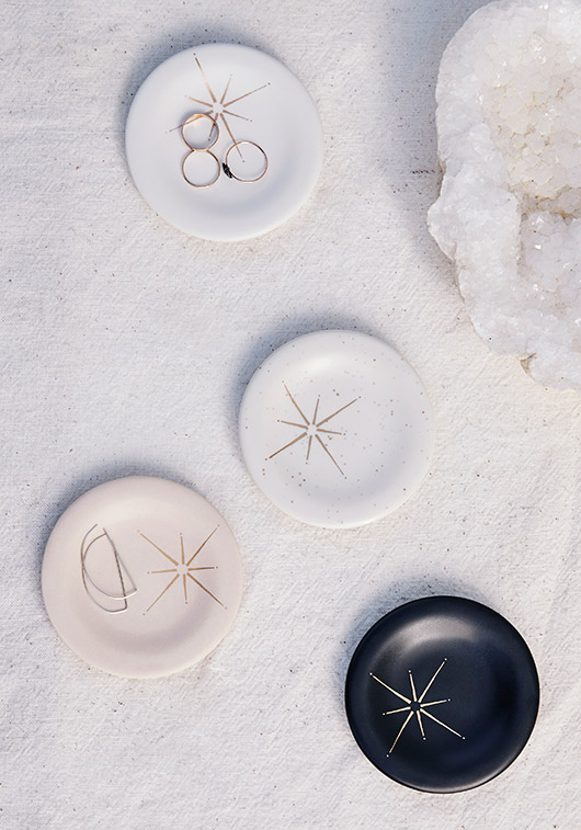 gold starburst decals on black and white dishes. / sfgirlbybay