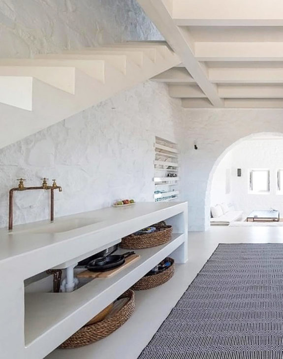 white walls and storage in Sterna Nisyros Residence kitchen. / sfgirlbybay