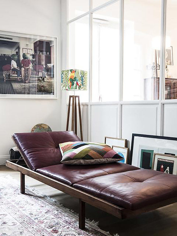 leather chaise lounge in home of Morgane Sézalory, Sézanefashion boutique founder. / sfgirlbybay