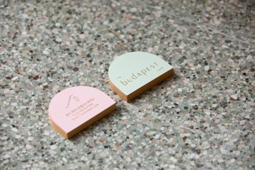 pastel pink and green business cards for budapest cafe. / sfgirlbybay