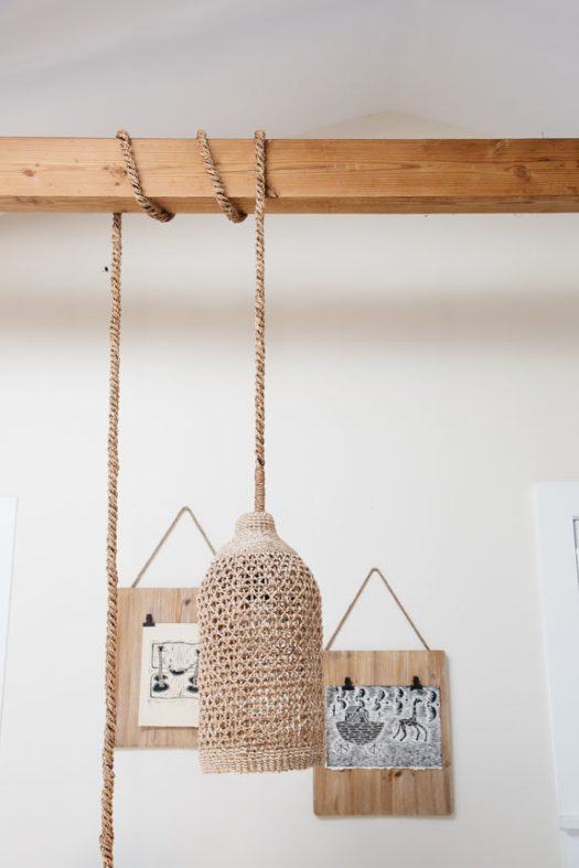 woven light fixture in tiny home in venice canals. / sfgirlbybay