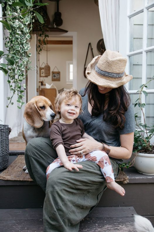 creative director whitney leigh morris and her son in theirtiny canal cottage. / sfgirlbybay