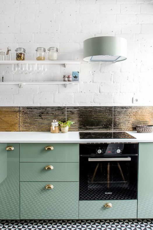 white painted brick and green cabinets in modern kitchen. / sfgirlbybay