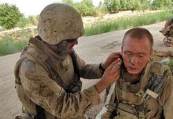 soldier with tears on face