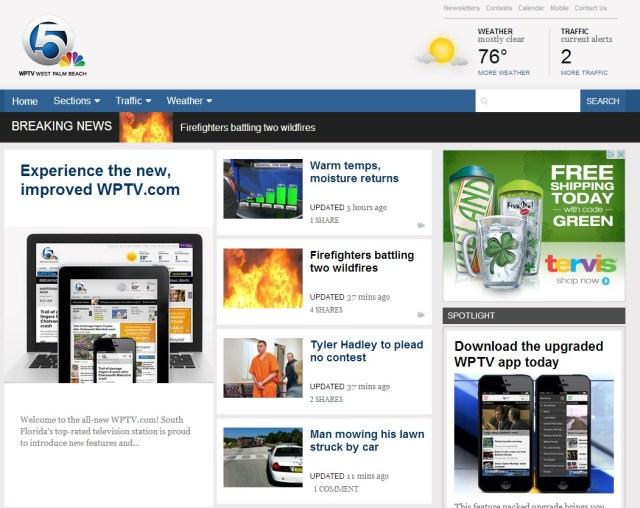 WPTV website WPTV.com Redesigned