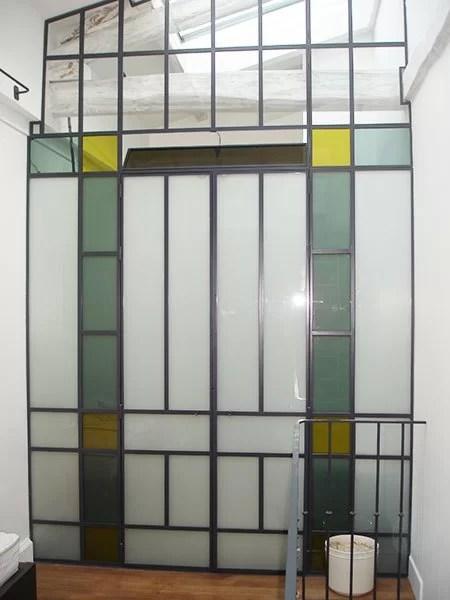 Cloison interieure vitrée et verre teinté verrières