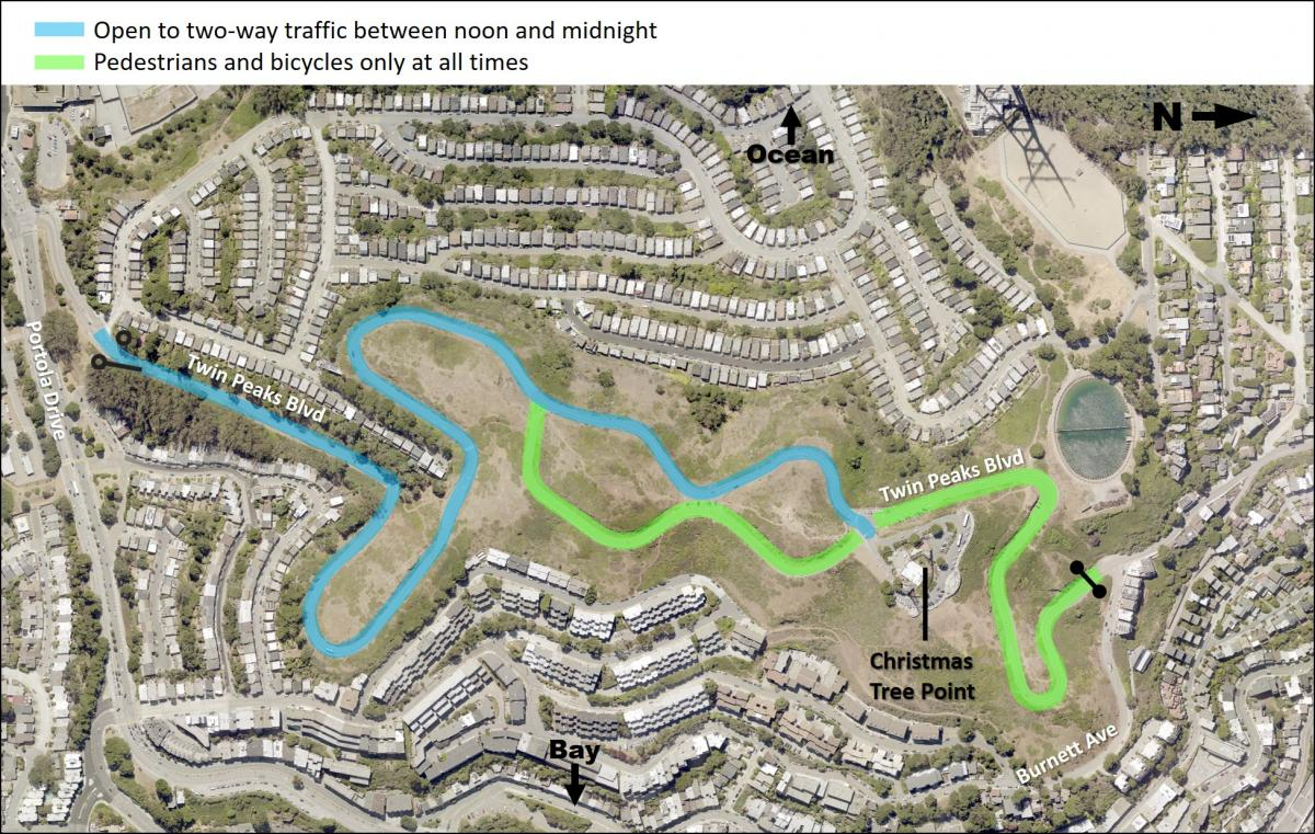 Map showing a blue line indicating two-way vehicle access from Portola Drive gate (at Panorama Drive) to Christmas Tree Point from noon to midnight daily. A green line indicates pedestrian and bicycle only from the Burnett Gate to Christmas Tree Point at all times. A green line indicates the east side of the figure eight is reserved for pedestrians and biking.