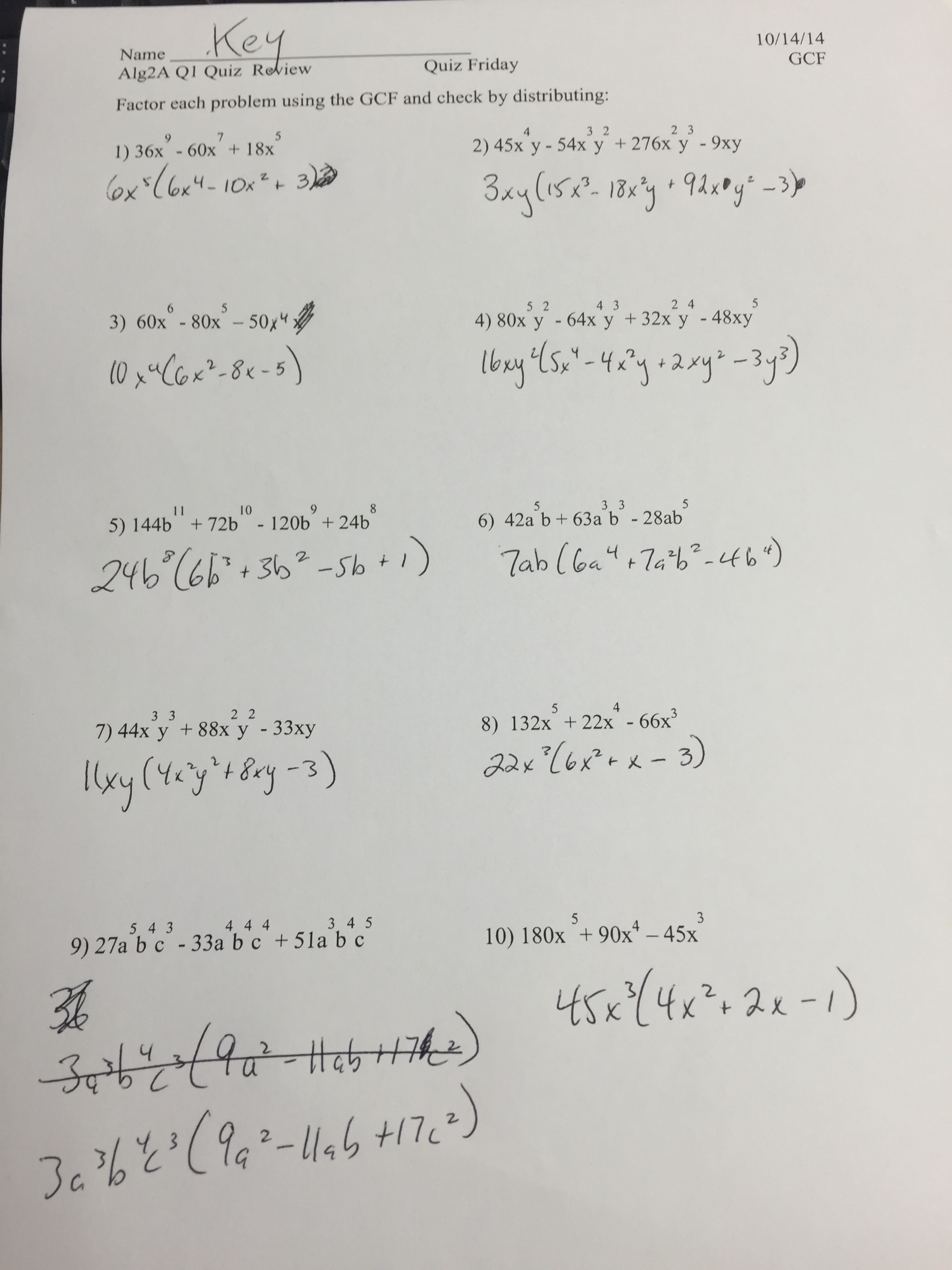 Algebra Nation Worksheet Answer Key