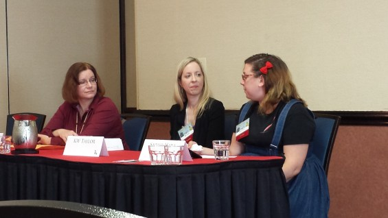 Lucy Snyder, KW Taylor and Sara Hans discussing Skewing the Trope of Tough Women Characters