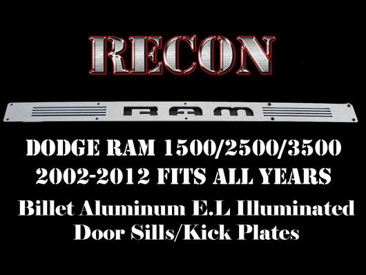 Recon 264121dg Billet Illuminated Blue Door Sills Dodge Truck