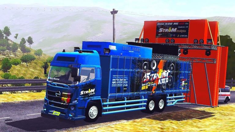 Hino 500 Strom Sound System Truck Mod for BUSSID