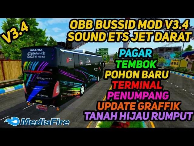 BUSSID V3.4: Sound ETS Jet Darat Graffik Full HD Support Mod