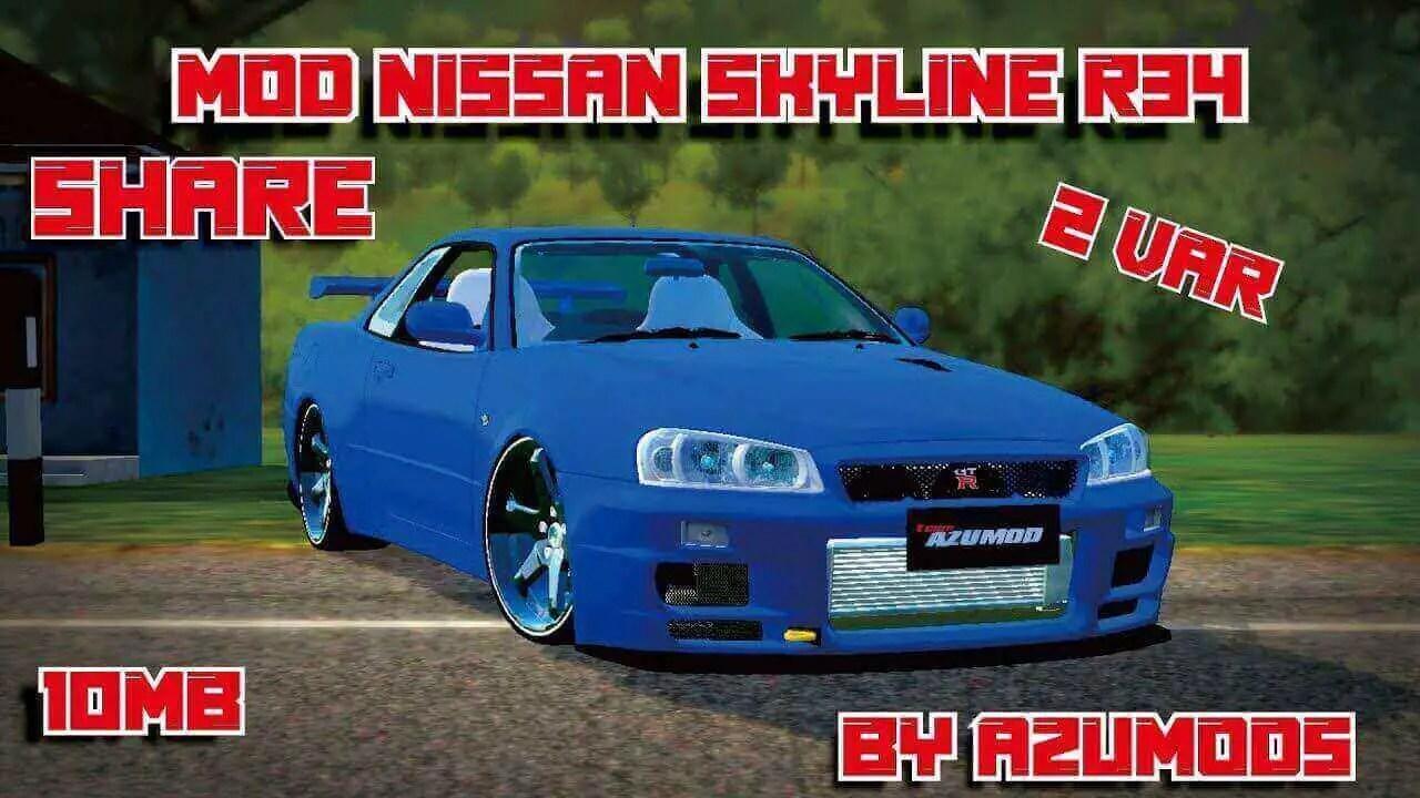 Nissan Skyline R34 Car Mod BUSSID, Mod Nissan Skyline R34 BUSSID, Car Mod Nissan Skyline R34 BUSSID, BUSSID Car Mod