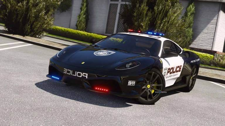 Ferrari F430 Scuderia Police Super Car Mod for BUSSID