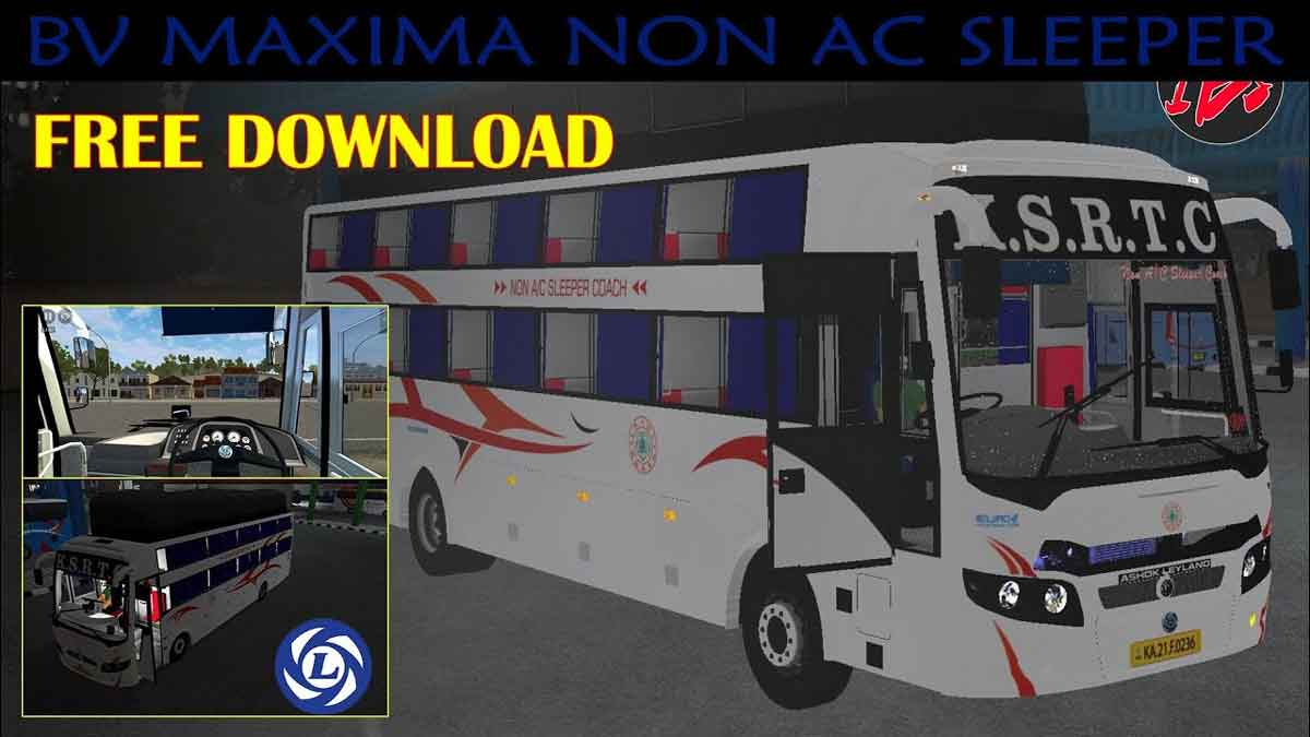 Download BV Maxima Non AC Sleeper Bus Mod BUSSID, BV Maxima Non AC Sleeper bus Mod, BUSSID Bus Mod, BUSSID Vehicle Mod, IBS Gaming, Indian Bus Mod BUSSID