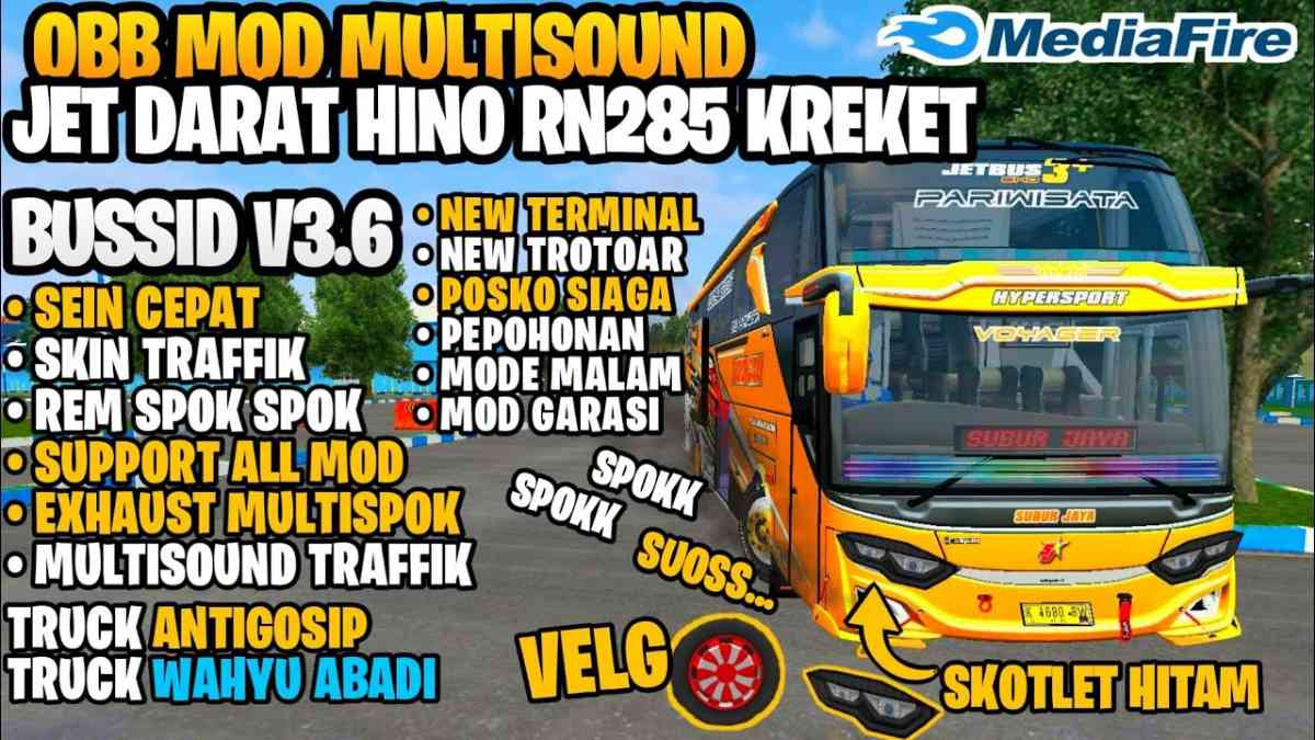 Download BUSSID V3.6 Obb Mod Multi Sound Jet Land Hino RN285, Multi Sound Jet Land Hino RN285, Bang Sadewa, BUSSID OBB Mod, BUSSID V3.6 Obb