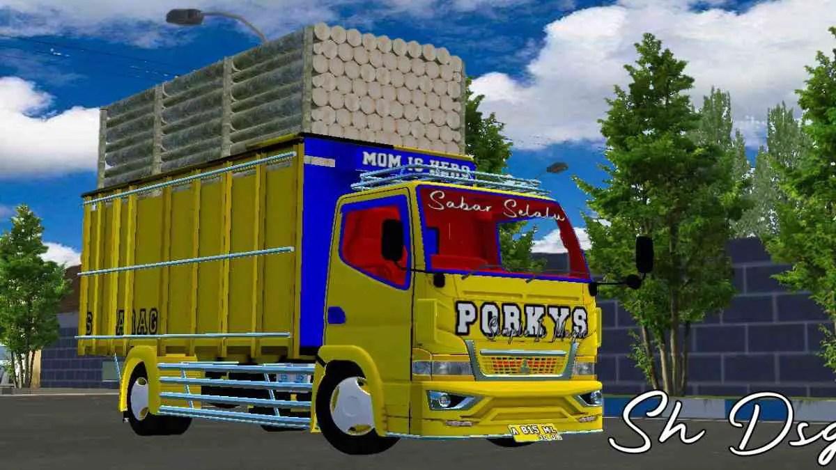 Download Canter Muatan Kayu Sengon Truck Mod BUSSID, Canter Muatan Kayu Sengon, BUSSID Truck Mod, BUSSID Vehicle Mod, Mod CANTER, SH Dsgn