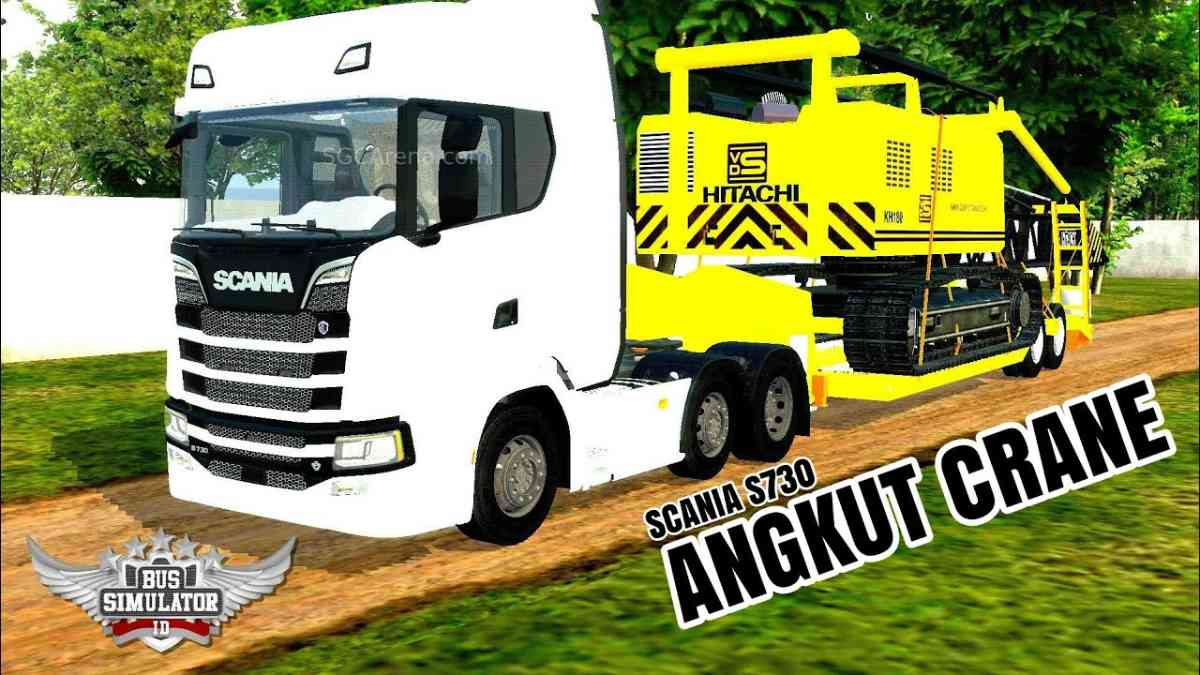 Download Scania S730 With Crane Truck Mod for BUSSID, Scania S730, BUSSID Truck Mod, BUSSID Vehicle Mod, MAH Channel, Scania