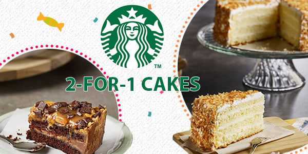 Starbucks 2 for 1 cakes promotion in July 2016