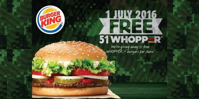 Burger King Free whopper burgers