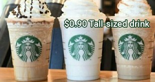 Starbucks tall-sized drink at 0.90 dollar