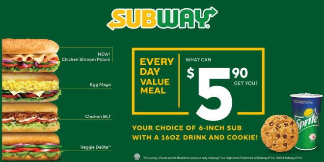New Everyday Value Meals at Subway from Oct 2019