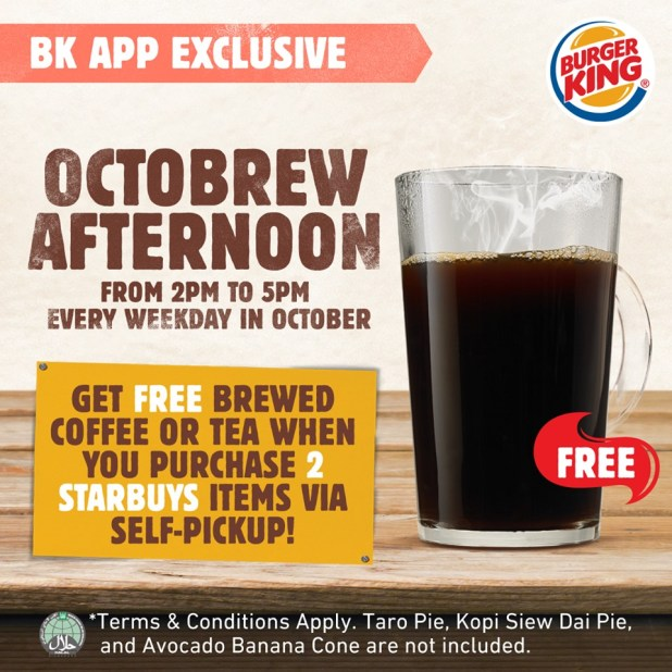 FREE Coffee/tea with 2 Starbuys purchased at Burger King