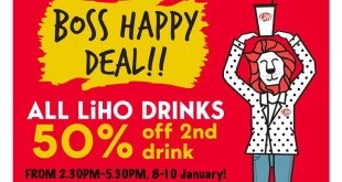 LiHO Promotion: 50% OFF 2nd Drink until 10 Jan 2020