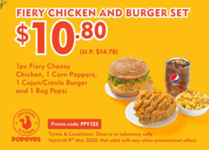 Popeyes new coupon: Fiery Chicken and Burger Set for $10.80 (U.P. $14.70)