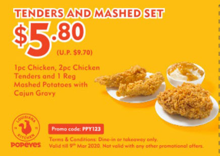Popeyes new coupon: Tenders and Mashed Set for $5.80 (U.P. $9.70)