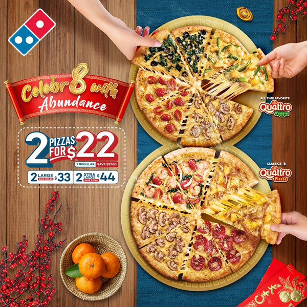 2 Pizzas for $22/$33/$44 at Dominos Pizza